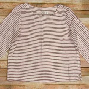 Deep Red Striped Crew Neck Linen Pullover L